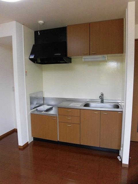 キッチンが壁付けなので部屋はより広く見えます